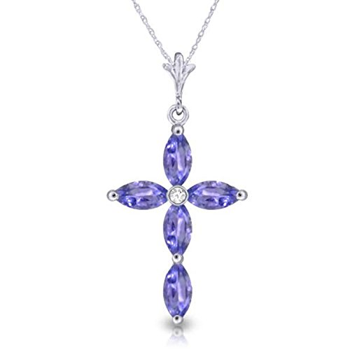Tanzanite Cross Necklace (Genuine 1.30 Carat Marquise Shaped Natural Tanzanite 925 Sterling Silver Cross Pendant Necklace)