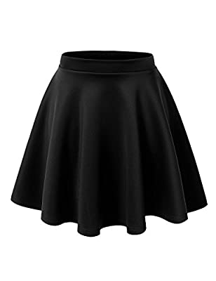 Noble U Women's Basic Solid Versatile Stretchy Swing Mini Skater Skirt