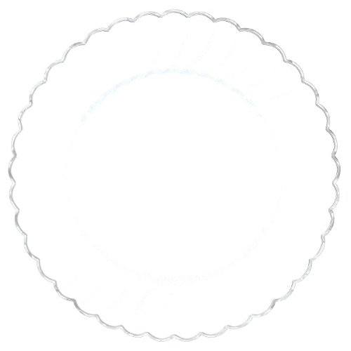 Scalloped Classic - Amscan Classic Scalloped Plastic Party Plate with Metal Trim (20 Piece), 7