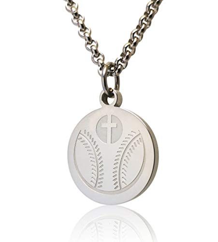 1st Communion Gifts For Boys (Pendant Sports Baseball Prayer Necklace Crafted in Stainless Steel with Luke 1:37 on The Back, and Nicely Presented in a Black Velvet Jewelry)