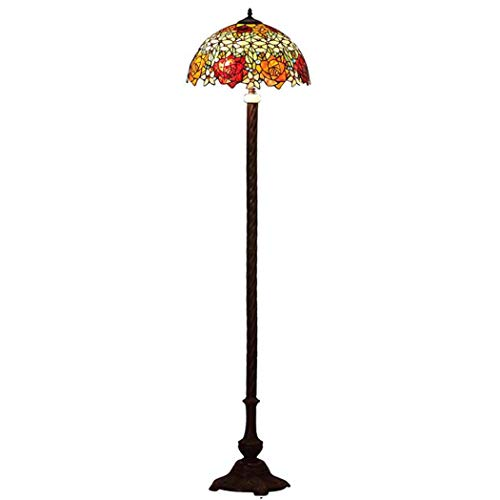 Tiffany Style Floor Lamp, European Rose Design Stained Glass Floor Lamp with Copper Zipper Switch, Bedroom Living Room Study Eye Protection Floor Light (Rose Pendant Light Glass)
