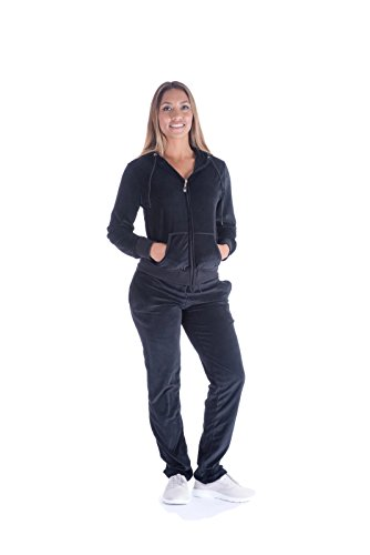 Mother's Day Sale! - Women's Soft Active 2 Piece Velour Hoodie & Pants Tracksuit Set (X-Large, Black) (Velour Hoodies Womens Zip)
