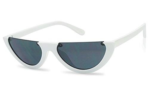4772017572 5 · SunglassUP Super Small Half Moon 90s Cateyes Sunglasses (White Frame