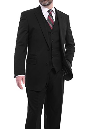 150s Wool Suit - Extrema Classic Fit Solid Black Three Piece Super 150s Wool Suit Peak Lapels