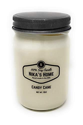 Nika's Home Candy Cane Soy Candle - 12oz Mason Jar ()