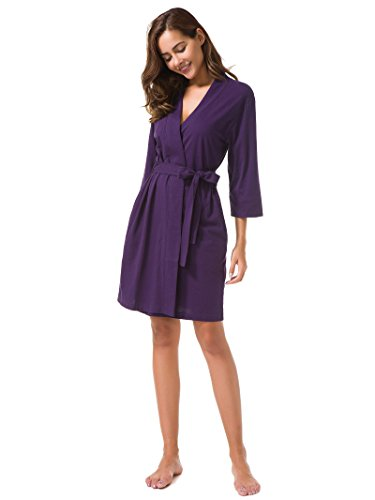 SIORO Women's Kimono Robe Cotton Soft Lightweight Robes Short Knit Bathrobe Loungewear V-Neck Sexy Sleepwear Ladies Nightshirts, Eggplant, M
