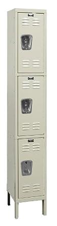 "Hallowell U1288-3A-PT Parchment Steel Premium Wardrobe Locker, 1 Wide with 3 Opening, 3 Tier, 12"" Width x 78"" Height x 18"" Depth, Assembled"