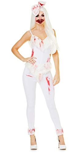 (Scary Bunny Costume - Sexy Horror Women's Zombie Outfit for Halloween, White,)