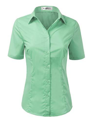 Doublju Womens Slim Fit Short Sleeve Solid Button Front Work Shirt Mint Medium