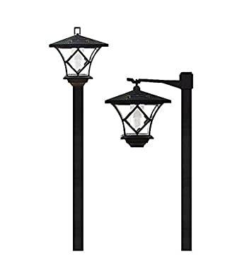 solar stake light warm white lantern lamp post outdoor garden covers with planter
