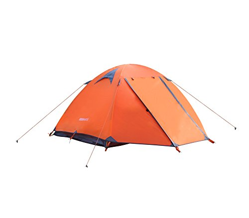 WoneNice Professional Camping Tent 3-4 season 2-person Double Layer Backpacking Dome Tent (Orange - 3 season tent) by WoneNice