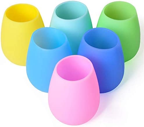 Foldable Shatterproof Party Cups for Travel Camping Pool Picnic// 12 oz KindGa Silicone Wine Glasses Set of 6 Unbreakable Stemless Outdoor Rubber White Wine Cups,100/% Silicone Dishwasher Safety