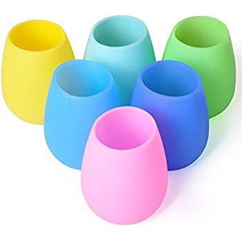 Silicone Wine Glass Flexible Portable Glasses Silicone Dishwasher Safe Stemless Wine Glass Pink Pattern Silicone Wine Cups Foldable Beer Glasses Unbreakable Glasses