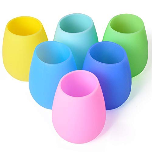 Silicone Wine Glasses Set of 6 - Outdoor Camping Unbreakable Rubber Wine Glasses, 12 oz 100% Dishwasher Safe Shatterproof Rainbow Silicone Cups for Travel Picnic Beach Pool by Mofason