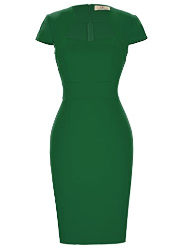 (Green Pin Up Pencil Dress Women Slim Fit Vintage Cocktail Dress Small CL8947-5)