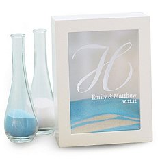 White Wedding Unity Sand Shadow Box Set with Personalization -