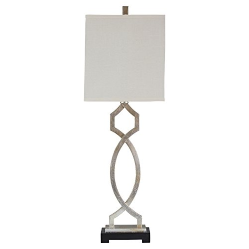 Ashley Furniture Signature Design - Taggert Metal Table Lamp with Rectangular Hardback Shade, Silver Finish