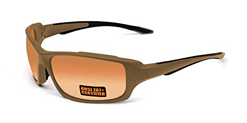 2017 Maxx Sunglasses SS2 Coyote Brown Full Frame with Ansi Z87+ HD Amber - Coyote Sunglasses