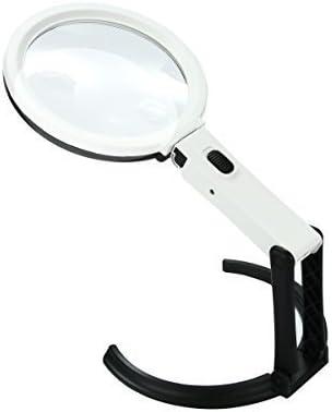 Xcellent Global Lupa de 12 LED 2X/ 5X para Escritorio Mesa orientable Lámpara plegable de doble propósito (Batería y Enchufe No Incluidos) LD072