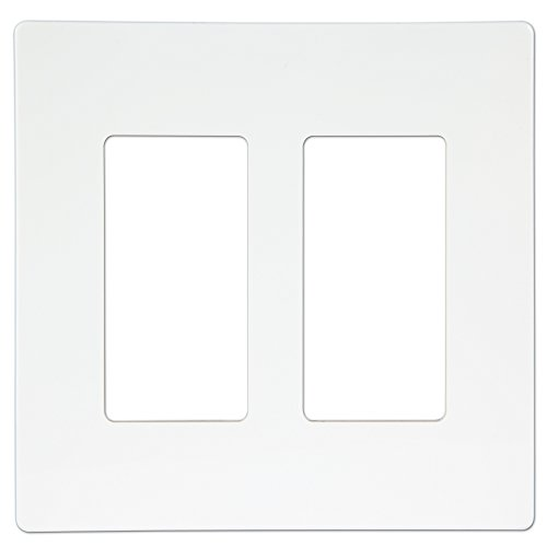 Screwless Decorator Switch Wall Plate by Enerlites SI8832-W Child Safe Cover Plate, 2-Gang Standard Size, White, Compatible with Rocker/GFCI/Paddle Outlet Receptacles, Unbreakable PC Material