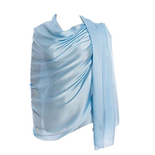 (Cyzlann Women's Scarves 100% Silk Long Lightweight Scarfs for Women(light blue))