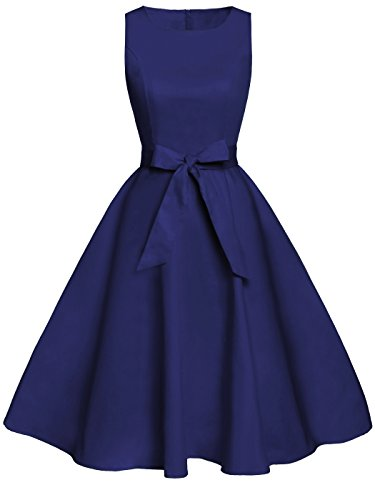 FAIRY COUPLE 50s Vintage Retro Floral Cocktail Swing Party Dress with Bow DRT017(L, Navy Blue)