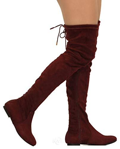 Skirts High Knee Boots (MVE Shoes Womens Fashionable Flat Over The Knee Boots - Comfortable Suede Adjustable Boots, Burgundy Suede 8)