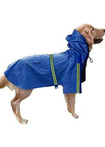 - Boomer888 Big Dog Puppy Rain Jacket Blue Raincoat Puppy Clothes Polyester Waterproof Double Extra Large Size Neck 17.3 inch