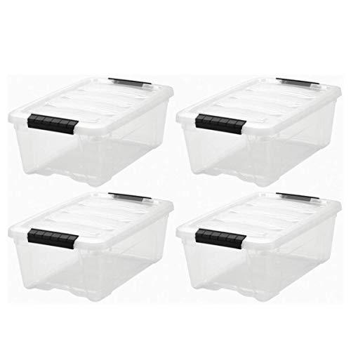 IRIS 12 Quart Stack & Pull Box, Clear, Single Unit,4 Pack, 12 Quart