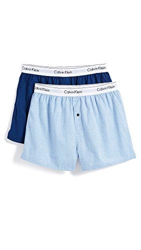 Calvin Klein Men's Underwear Modern Cotton Stretch Woven Boxers, Chambray Heather/Estate Blue, (Klein Mens Boxer)