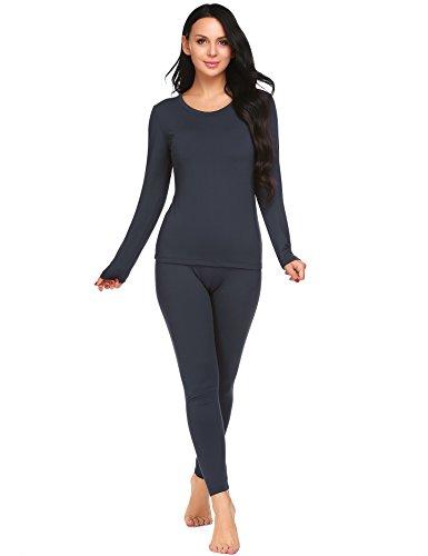 Ekouaer Women's Long Johns Winter Warm Thermal Clothing Pj Set (Navy, Medium)