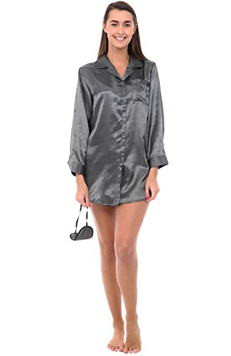 del-rossa-womens-satin-nightshirt-boyfriend-style-sleepshirt-with-mask-xl-steel-a0746stlxl