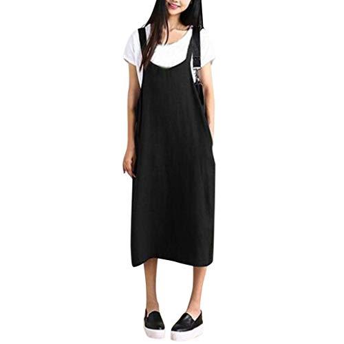 Women Suspender Dress Casual Plain Pinafore Midi Dress Summer Cotton Loose Dress with Pocket Black