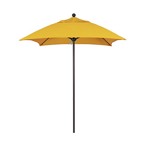 California Umbrella Aluminum/Fiberglass Push Open, Bronze Pole and Sunbrella Sunflower Yellow Umbrella, 6' (6 Foot Square Patio Umbrella)