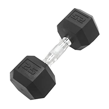 DWC Dumbbell Hex Rubber Coated, Commercial Grade, Ergonomic Steel Handle, Singles, All Sizes 5-110lbs