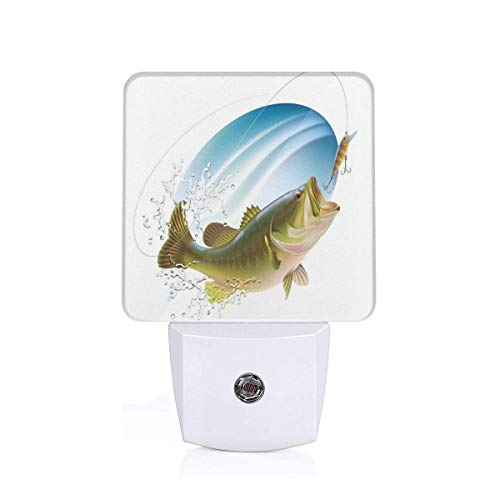 Colorful Plug in Night,Largemouth Sea Bass Catching A Bite in Water Spray Motion Splash Wild Image,Auto Sensor LED Dusk to Dawn Night Light Plug in Indoor for Childs Adults
