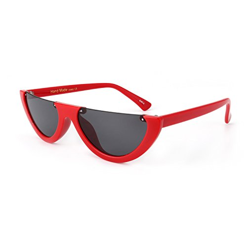ROYAL GIRL Fashion Cat Eye Sunglasses Women Half Frame Flat Top Designer Clout Goggles Shades (C2 red frame - Girl Eye Cat