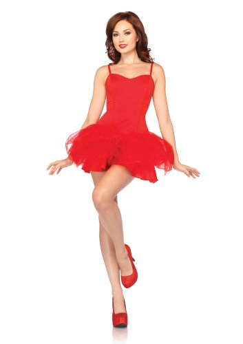 Red Corset Tutu Adult Costumes Dress (Leg Avenue Women's Corset Tutu Dress with Support Boning and Removable Straps, Red, Small/Medium)