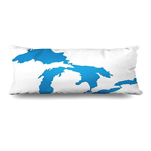 - Ahawoso Body Pillows Cover 20x60 Inches Michigan Map Great Lakes America Erie Geography Huron Design Decorative Zippered Pillow Case Home Decor Pillowcase