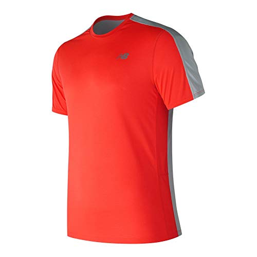 New Balance Men's Accelerate Shorts Sleeve Shirt, Flame, Small