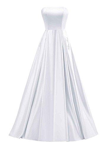 Yinyyinhs Bal Satin Perles Bustier Femmes Robe De Soirée Longues Robes Formelles Avec Poche Blanche
