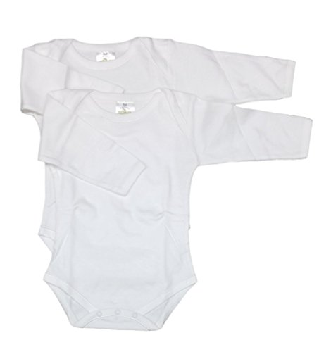 CARLINO Baby 2-Pack Extra Soft Baby Bodysuits, Long Sleeve with Envelope Neck