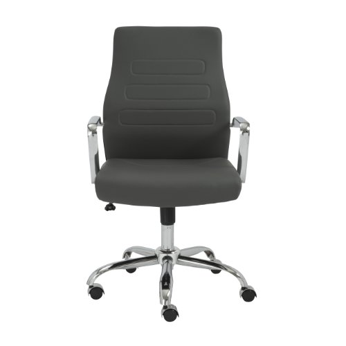Euro Style Fenella Thick Soft Leatherette Adjustable Office Chair, Gray with Chrome ()