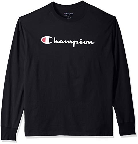 Champion Men's Graphic Classic Jersey LS Tee, Black, XX-Large