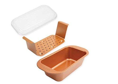 Chefs Non Stick Loaf Pan - NEW! As Seen On TV Copper Chef Perfect Loaf Pan With Insert And Lid