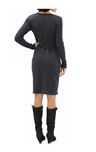 Strickkleid und Glattstrick Oberteil Mix grau aus im Moda Rippenstrick Damen im Rockteil Modischer Alba qBv16xO