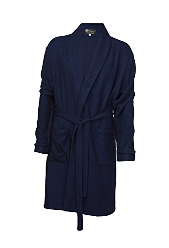Pure Cashmere Knee Length Robe for Men (Navy, Large/Extra Large)