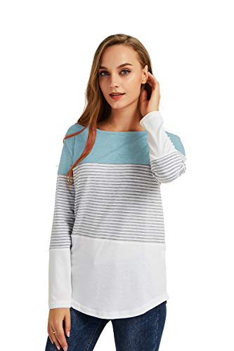 Gititlys Women's Long Sleeve Striped Gourd Neck Casual Blouse Tops T-Shirts