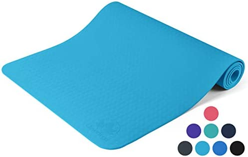 Yoga Mat Non Slip – Longer and Wider Than Other Exercise Mats – -Inch Thick High Density Padding to Avoid Sore Knees During Pilates, Stretching Toning Workouts for Men Women