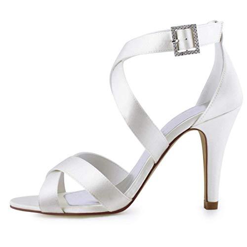 color 2 Sandalias Señoras Moda Uk Tobillo Vestido Boda Hhgold Abrigo 5 De Satinado Blanco Hebilla Tamaño aSdqw1f
